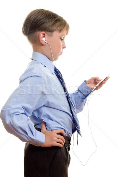 Jongen draagbaar muziekspeler kind student technologie Stockfoto © lovleah