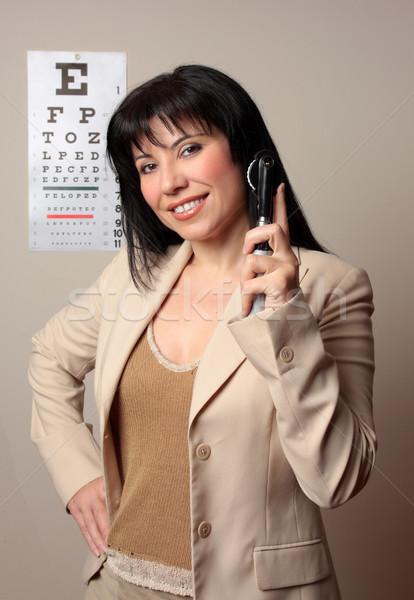 Feliz optometrista alegre pronto corpo mulher Foto stock © lovleah
