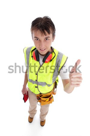 Positive trainee builder laborer thumbs up Stock photo © lovleah