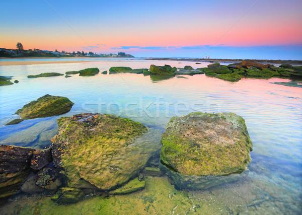 Musgo coberto rochas prateleira Austrália Foto stock © lovleah