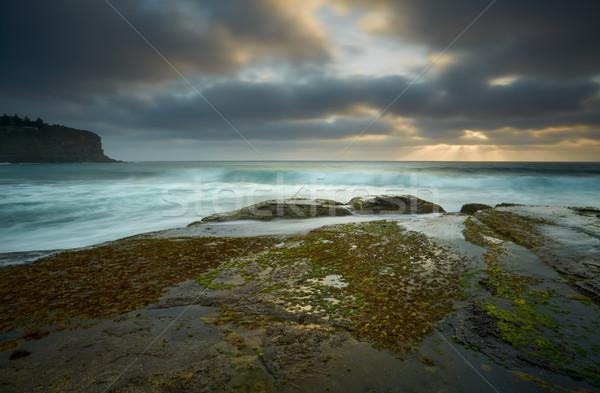 Szeszélyes nap felhők búcsú kicsi törik Stock fotó © lovleah