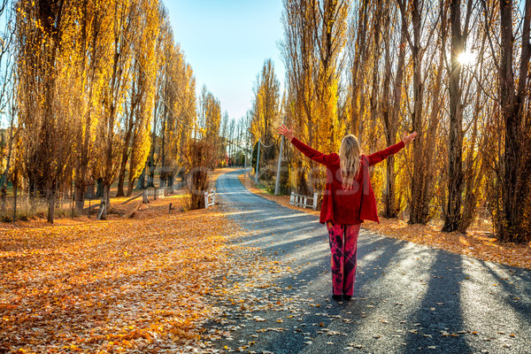 Woman enjoying countryside in Autumn Stock photo © lovleah