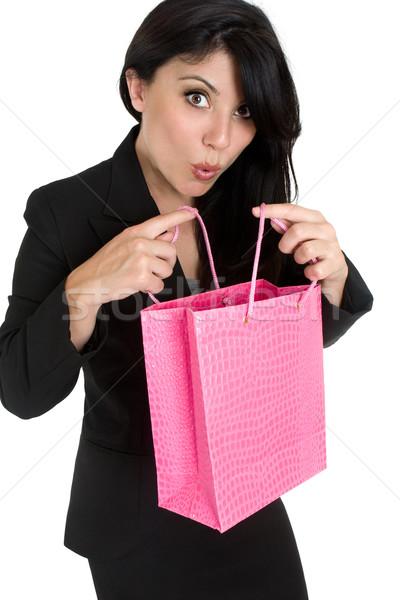 Gyönyörű kifejező nő vásárlás ajándék táska Stock fotó © lovleah
