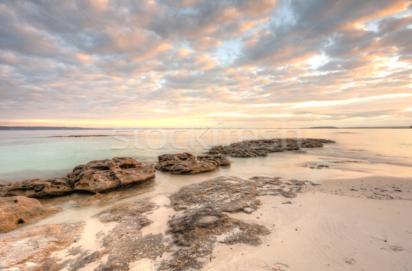 Pretty dappled sunrise sky in the morning at Scottish Rocks, Aus Stock photo © lovleah