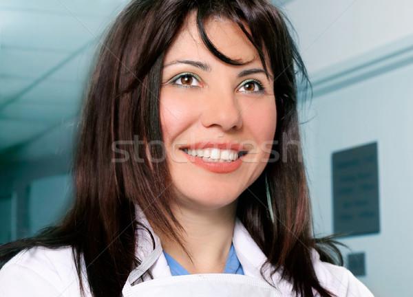 Belo sorridente enfermeira médico feminino hospital Foto stock © lovleah