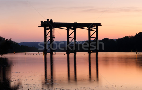 Sunset and silhouettes on the river Stock photo © lovleah