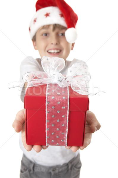 Christmas geschenk iemand speciaal jongen handen Stockfoto © lovleah