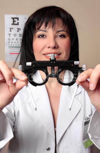 Optometrista examen de la vista marcos paciente visión Foto stock © lovleah