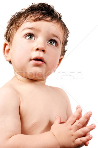 Stock fotó: Kisgyerek · fiú · fiatal · baba · tanul · új