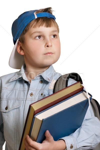 Schooljongen student rugzak boeken witte Stockfoto © lovleah