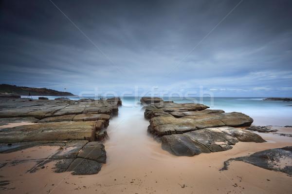 Orageux plage naturelles Rock canal soldats Photo stock © lovleah