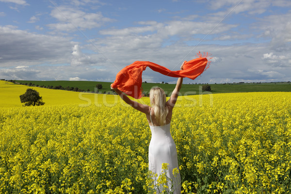Stock photo: Happy woman flailing scarf in a field of flowering canola in spr