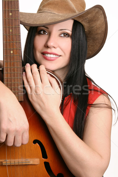 Female musician with her guitar Stock photo © lovleah