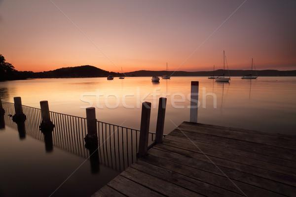 Zachód słońca zmierzch kolory pomarańczowy różowy fioletowy Zdjęcia stock © lovleah