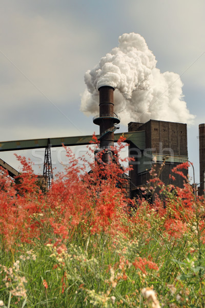 Steel Mill Smelter emitting toxic fumes from chimney Stock photo © lovleah