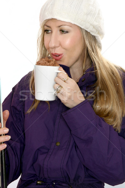 Stok fotoğraf: çikolata · içmek · çöküş · içme · dekore · edilmiş · kız
