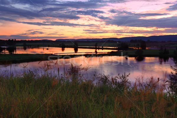Penrith Lakes Sunset Stock photo © lovleah