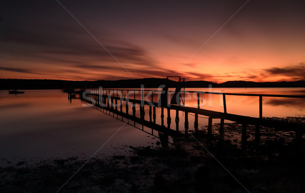 Summer sunset silhouettes at Kincumber jetty Stock photo © lovleah
