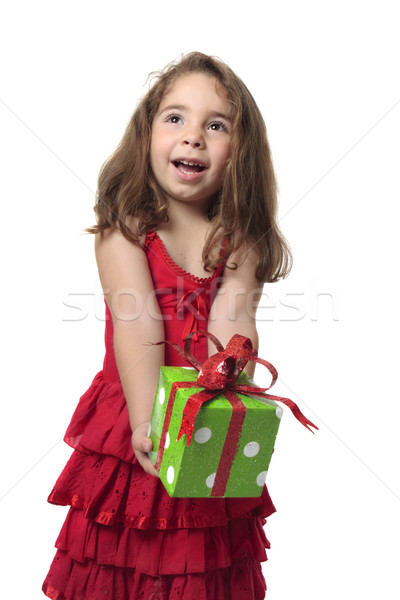 Happy girl holding gift Stock photo © lovleah