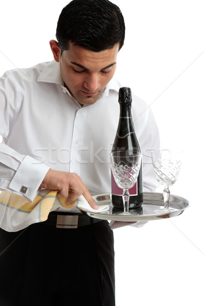 Pincér szolgáló tálca munka fehér étterem Stock fotó © lovleah