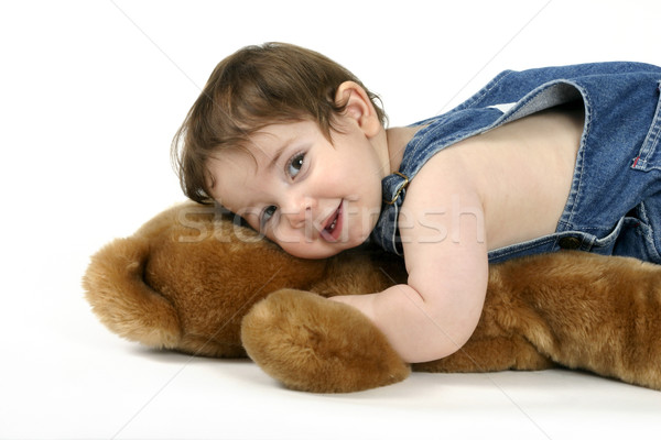 Smiling baby girl with teddy bear Stock photo © lovleah