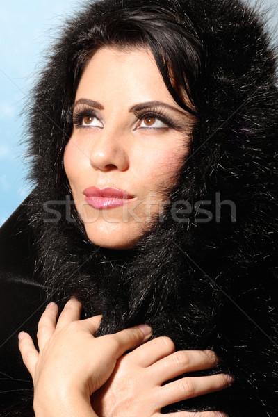 Kış moda kadın çekici güzel bir kadın Stok fotoğraf © lovleah