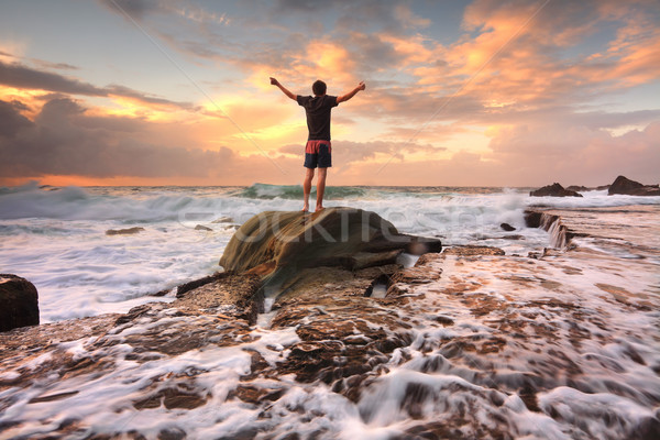 Zest Life, Praise God, Love Nature, Sunrise turbulent seas arms  Stock photo © lovleah