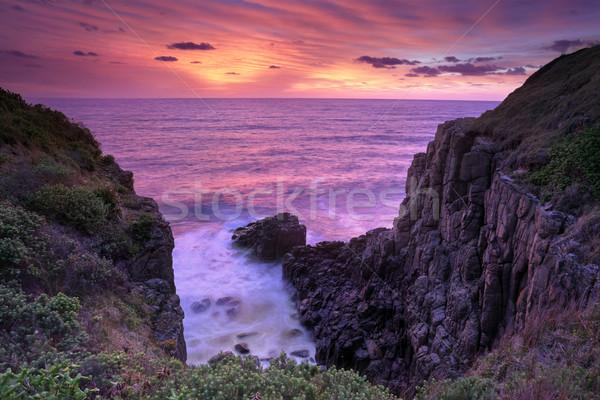 Ardiente amanecer sur costa Australia rojo Foto stock © lovleah