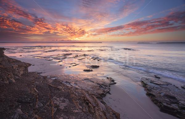 Gündoğumu muhteşem kayalar tarla nokta doku Stok fotoğraf © lovleah