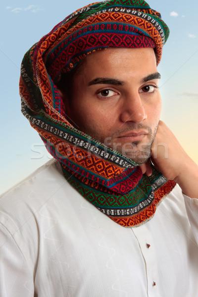 Emiraty człowiek tradycyjny turban dorosły Zdjęcia stock © lovleah