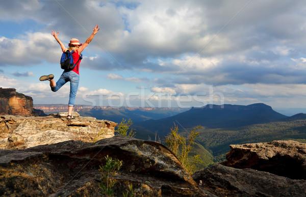 Mutlu kadın duygu sevinç başarı Stok fotoğraf © lovleah