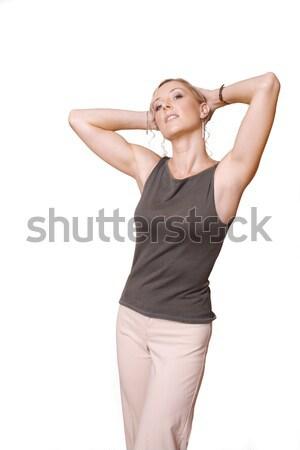 Casuale donna elegante posa serbatoio top Foto d'archivio © lovleah