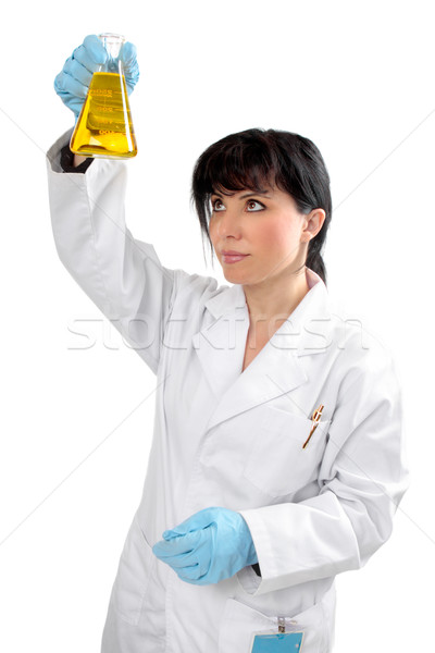 Scientist chemist with flask Stock photo © lovleah