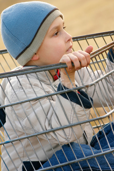 Child playing shopping trolley Stock photo © lovleah