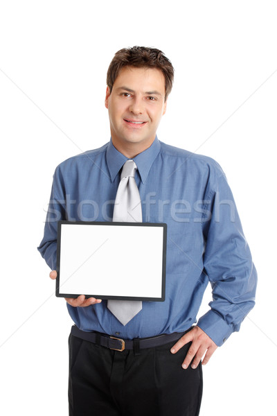 Businessman or salesman  holding sign Stock photo © lovleah