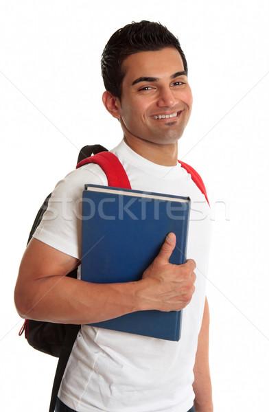 Extatisch etnische student glimlachend mannelijke halfbloed Stockfoto © lovleah