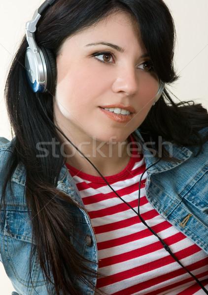 Stockfoto: Toevallig · meisje · luisteren · naar · muziek · vrouwelijke · denim