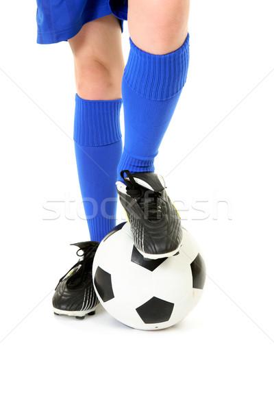 Stockfoto: Jongen · voet · voetbal · witte · sport · bal