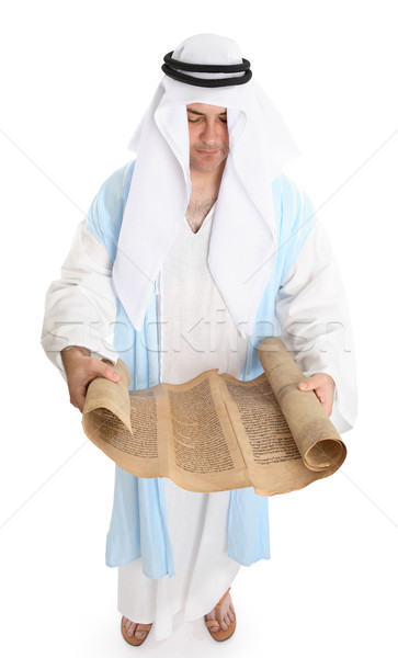 Biblical man or scribe with holy scroll Stock photo © lovleah