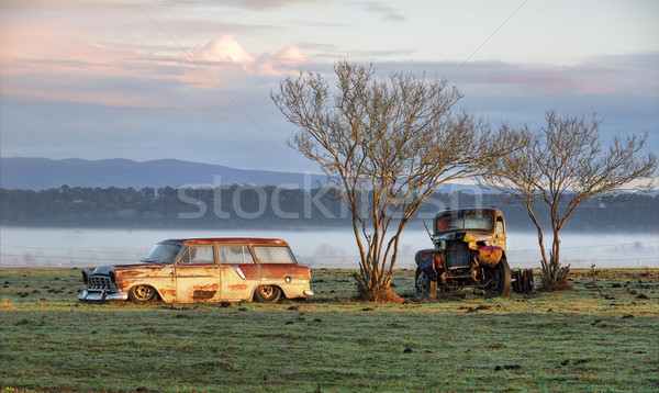 Vintage automobiles on a misty morning outback Australia Stock photo © lovleah