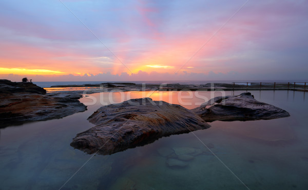 Curl Curl Rock Pool relfections of sunrise Stock photo © lovleah