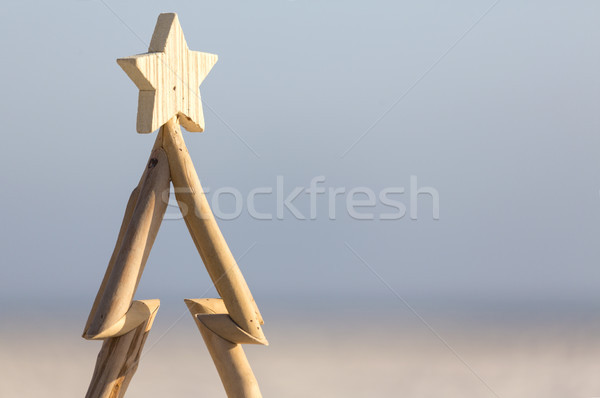 Wooden Christmas tree against beach background Stock photo © lovleah