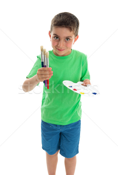 Young boy artist holding paints and brushes Stock photo © lovleah