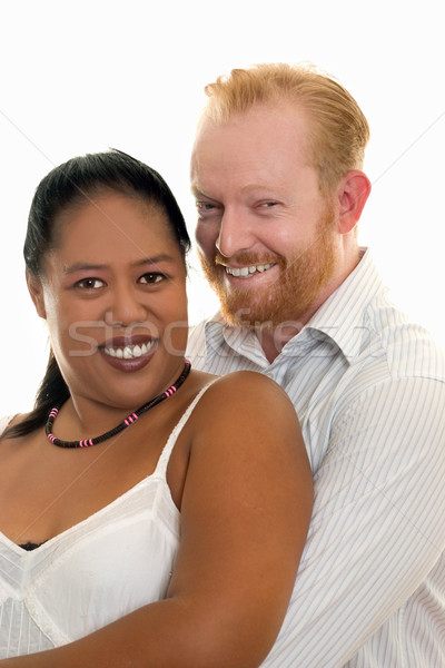 Mutlu çift çeşitlilik gülen bakıyor önde Stok fotoğraf © lovleah