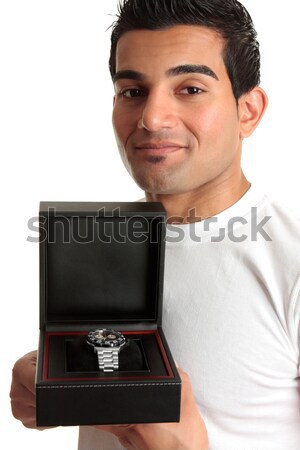 Man holding open gift box jewelry case Stock photo © lovleah