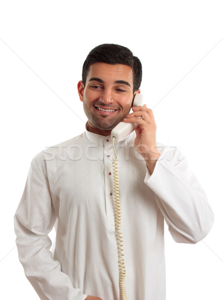 Middle eastern arab man using the telephone Stock photo © lovleah