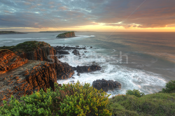 Beautiful morning with soft light on the rocks at Minamurra Stock photo © lovleah