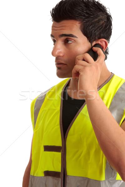 Handlowiec złota rączka telefonu mężczyzna budowniczy inny Zdjęcia stock © lovleah