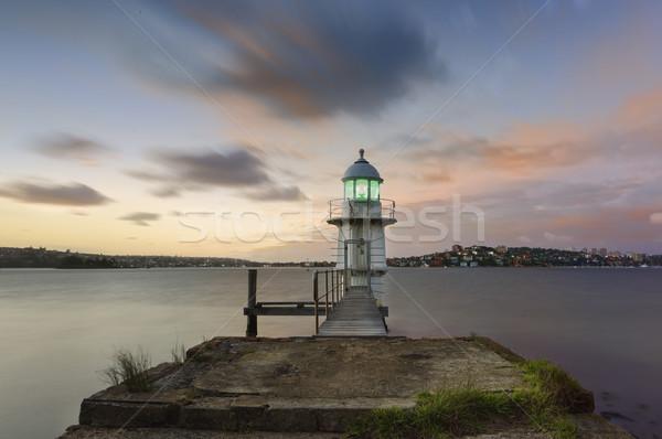Phare matin lumière nuages architecture Photo stock © lovleah