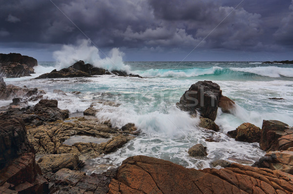 stormy skies over rugged coastline Stock photo © lovleah